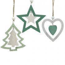 Christmas Tree Decoration Mix Green, White 10cm 9pcs