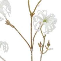 Clematis branch white flocked 62cm 3pcs