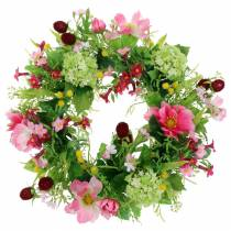 Decorative wreath with cosmos and viburnum Pink, Yellow, Green Ø30cm