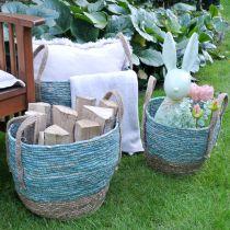 Rattan basket Nature/Blue Ø40/32/26cm 3pcs
