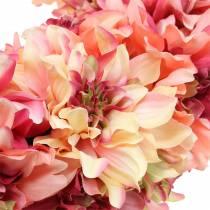 Dahlia flower wreath pink, cream Ø42cm