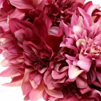 Dahlia flower wreath pink, mallow Ø42cm