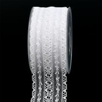 Gift ribbon for decoration lace 55mm 20m white