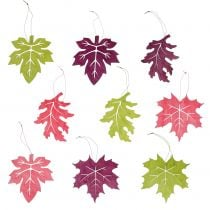 Decorative leaves of wood for hanging colored 12cm 9pcs