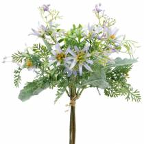 Decorative bouquet, purple silk flowers, spring decorations, artificial asters, carnations and eucalyptus