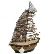 Decorative boat with branches and shells 38cm