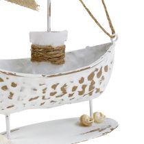 Deco boat standing white H22cm