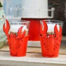Decorative bucket lobster metal red Ø8cm H13cm 3pcs