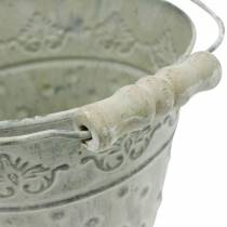 Decorative bucket, washed white with handle Ø20.5cm, planter, metal decoration