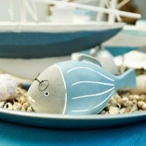 Decorative fish with glasses blue white 15.5 / 14.5cm 2pcs