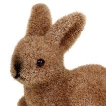 Decorative bunnies 5cm flocked brown 16pcs.