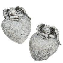 Decorative heart with angel gray 10.5cm 2pcs