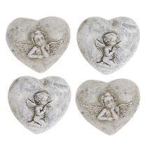 Mini decorative hearts with angels 4cm gray 8pcs
