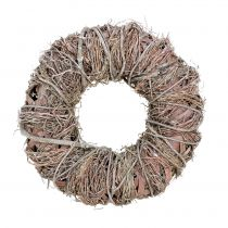 Deco wreath nature Ø33cm white washed