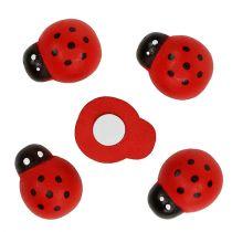 Decorative Ladybug for sticking 2,5cm red 72pcs