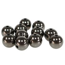 Decorative beads anthracite metallic 14mm 35pcs