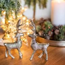 Decorative reindeer silver metal 6.5 × H12.5cm 3pcs