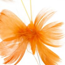 Butterflies in orange tones, spring decoration spring butterflies on a wire 6pcs