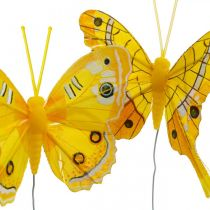 Decorative butterflies yellow feather butterfly on wire 7.5cm 6pcs