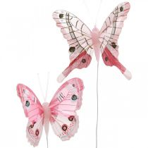 Decorative butterflies pink feather butterfly on wire 7.5cm 6pcs