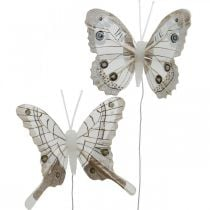 Decorative butterflies white, brown feather butterfly on wire 7.5cm 6pcs