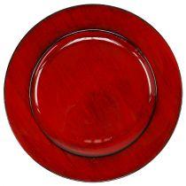 Decorative plate plastic Ø28cm red-black