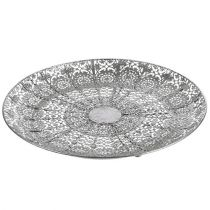 Decorative plate silver with motif Ø35cm