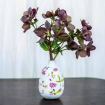 Decorative vase white floral Ø9cm H13.8cm