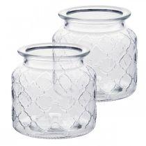 Decorative lantern diamond pattern, glass vessel, glass vase, candle decoration 2pcs