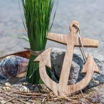 Decorative anchor wood pendant nature H14.6cm