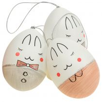 Decorative eggs with face white, pink, gray 7cm 6pcs
