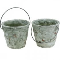 Decorative bucket, ceramics for planting, garden decoration, plant bucket antique optics Ø13.5cm H12cm 2pcs