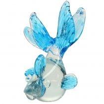 Decorative fish glass clear, blue 15cm