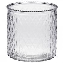 Decorative glass, lantern with diamond pattern, glass vessel Ø15cm H15cm