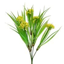 Deco grass with flowers yellow, green L30cm