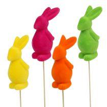 Decorative bunnies flock colorfully. 13cm 8pcs