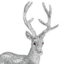 Deco deer silver, mica H32cm B25cm