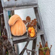 Decorative pumpkin curved orange flocked Artificial decorative pumpkin 18cm