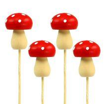 Deco Mushroom Fly Agaric Plug Red 3,5cm L30cm 12pcs
