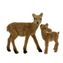 Deco deer 10cm with fawn brown flocked set