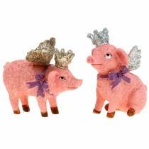 Deco figurine pig with crown 9cm 2pcs