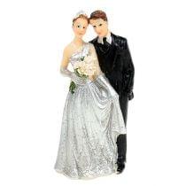 Deco silver wedding couple 10cm