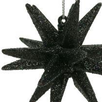 Christmas Tree Decoration Star Black, glitter 7,5cm 8pcs