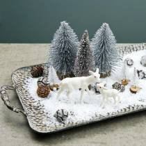 Decorative tray with handles antique silver 45cm x 25cm