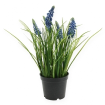 Hyacinths artificially in the pot blue 24cm