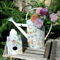 Decorative birdhouse with flowers metal white 25.5c × 16 × 13.5cm