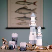 Lighthouse wood blue-white 22cm