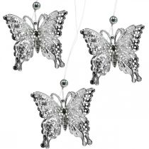 Decorative pendant butterfly, wedding decoration, metal butterfly, spring 6pcs