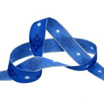 Gift ribbon for decoration blue with pattern 25mm 20m
