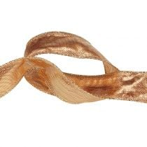 Deco ribbon gold with wire edge 25m